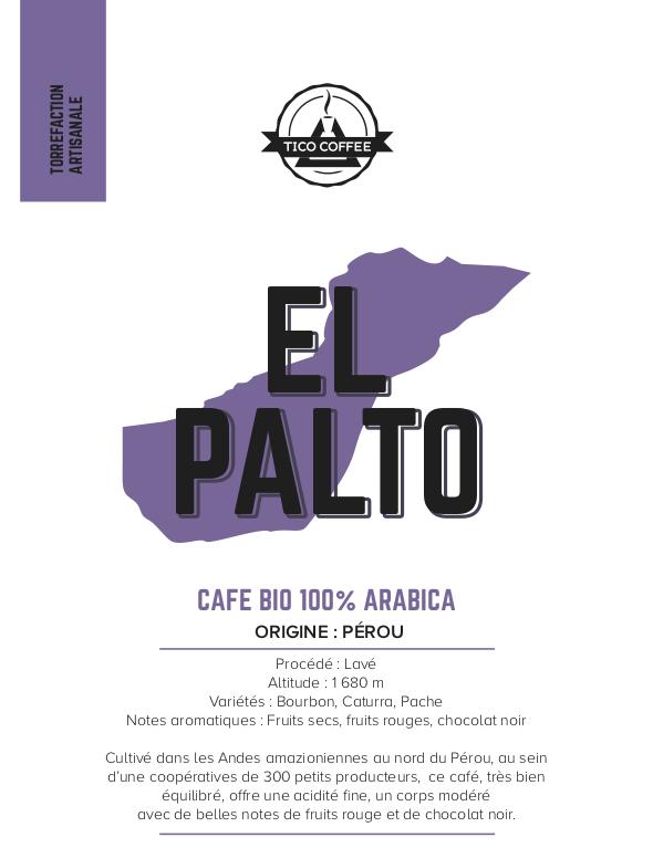 Étiquette café Pérou El Palto