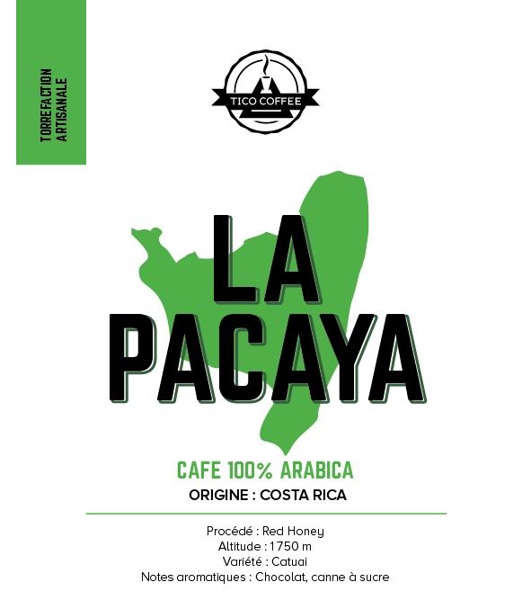Étiquette du paquet de café La Pacaya